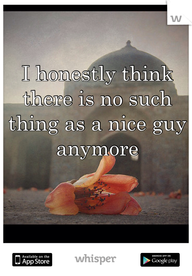 I honestly think there is no such thing as a nice guy anymore