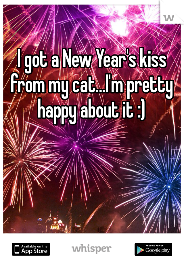I got a New Year's kiss from my cat...I'm pretty happy about it :)