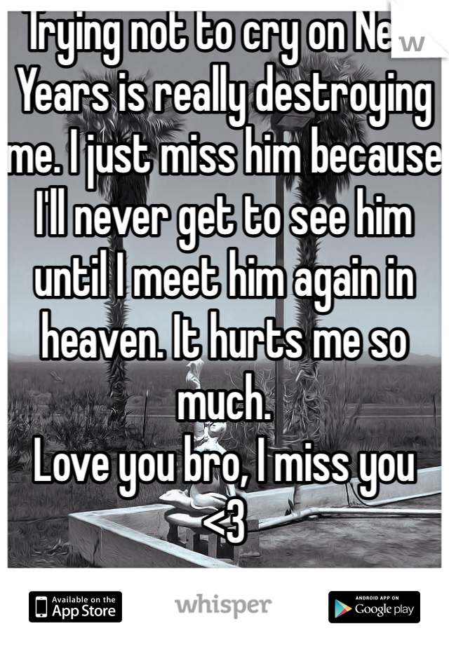 Trying not to cry on New Years is really destroying me. I just miss him because I'll never get to see him until I meet him again in heaven. It hurts me so much.  Love you bro, I miss you  <3