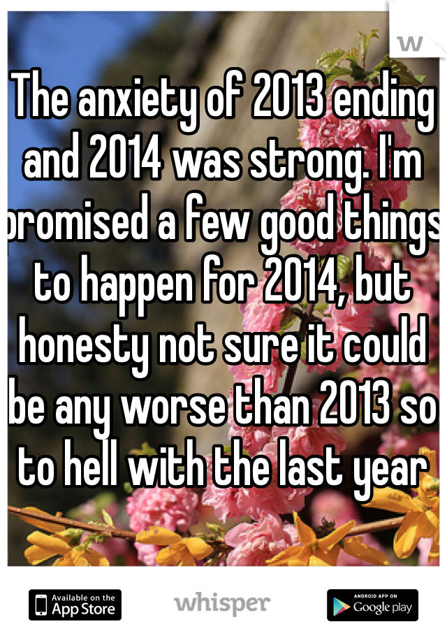 The anxiety of 2013 ending and 2014 was strong. I'm promised a few good things to happen for 2014, but honesty not sure it could be any worse than 2013 so to hell with the last year