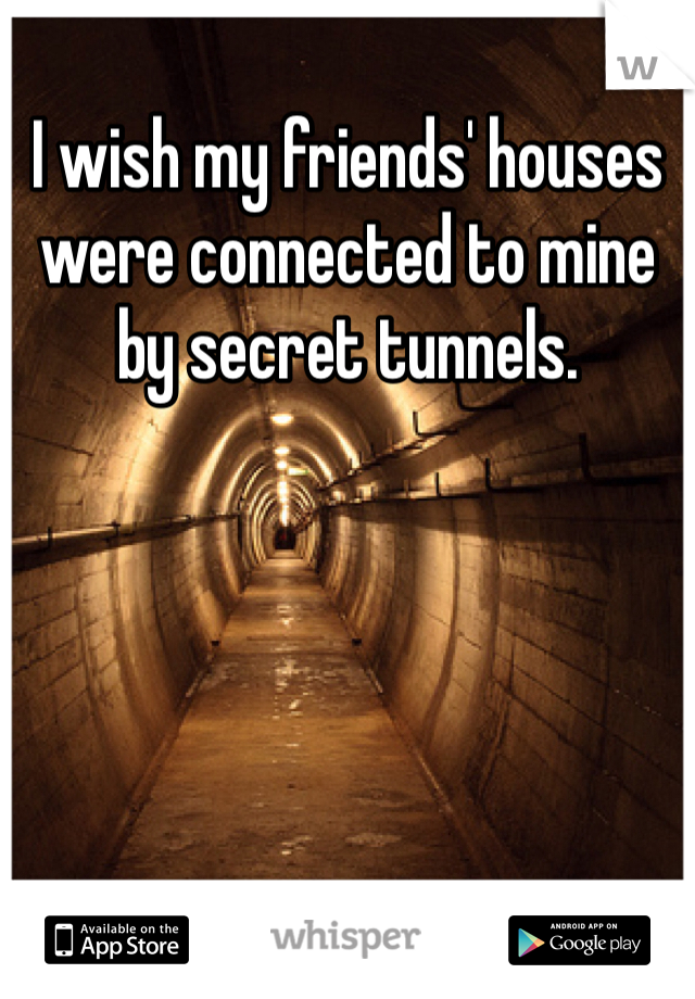 I wish my friends' houses were connected to mine by secret tunnels.