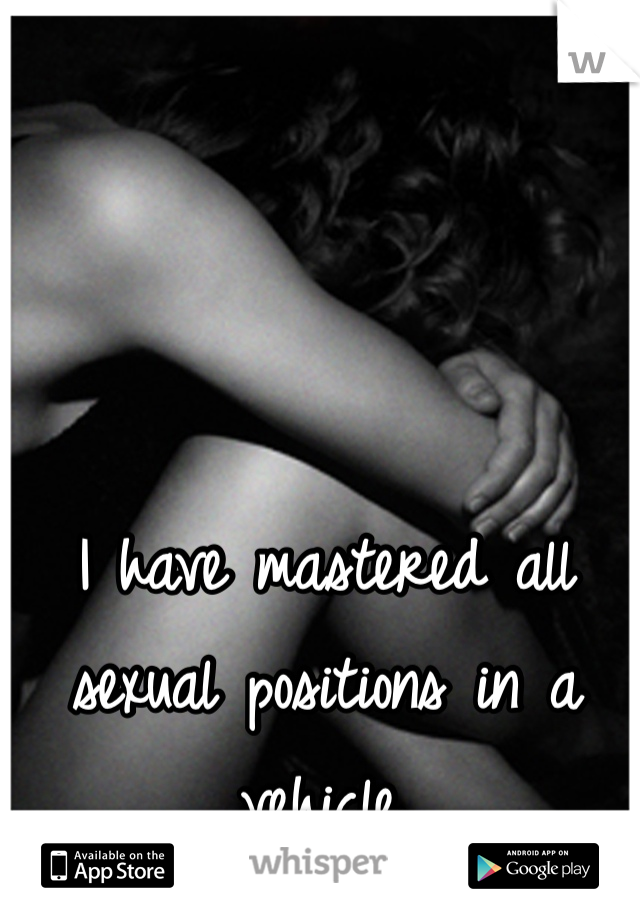 I have mastered all sexual positions in a vehicle.