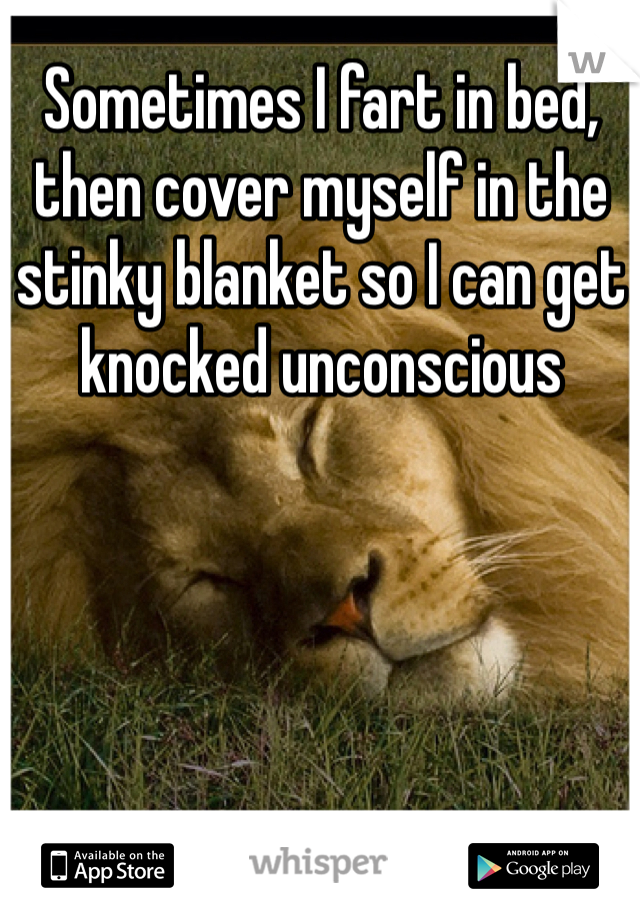 Sometimes I fart in bed, then cover myself in the stinky blanket so I can get knocked unconscious