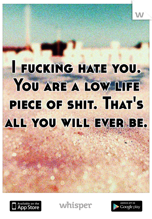 I fucking hate you. You are a low life piece of shit. That's all you will ever be.