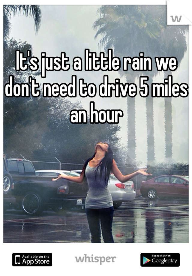 It's just a little rain we don't need to drive 5 miles an hour