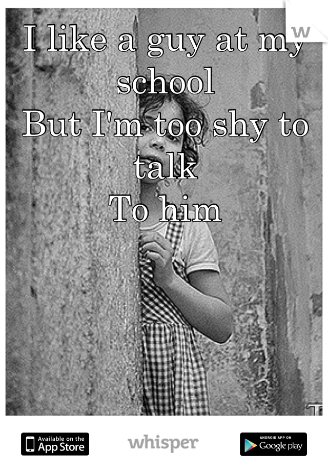 I like a guy at my school But I'm too shy to talk To him