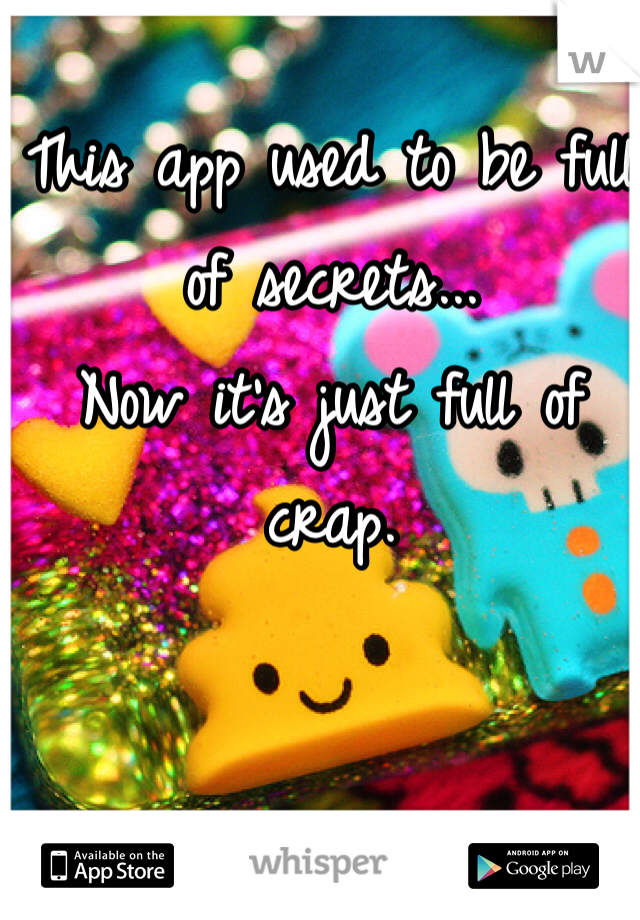 This app used to be full of secrets... Now it's just full of crap.