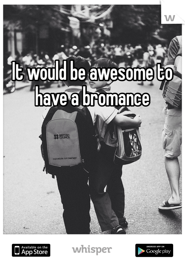 It would be awesome to have a bromance