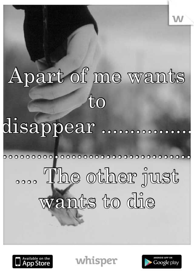 Apart of me wants to disappear ..................................................... The other just wants to die