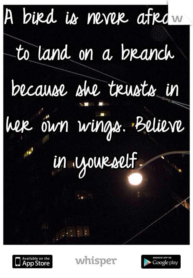 A bird is never afraid to land on a branch because she trusts in her own wings. Believe in yourself