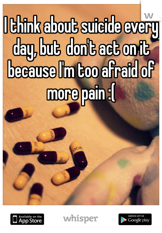 I think about suicide every day, but  don't act on it because I'm too afraid of more pain :(