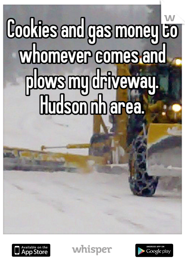 Cookies and gas money to whomever comes and plows my driveway. Hudson nh area.
