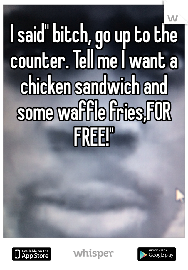 """I said"""" bitch, go up to the counter. Tell me I want a chicken sandwich and some waffle fries,FOR FREE!"""""""