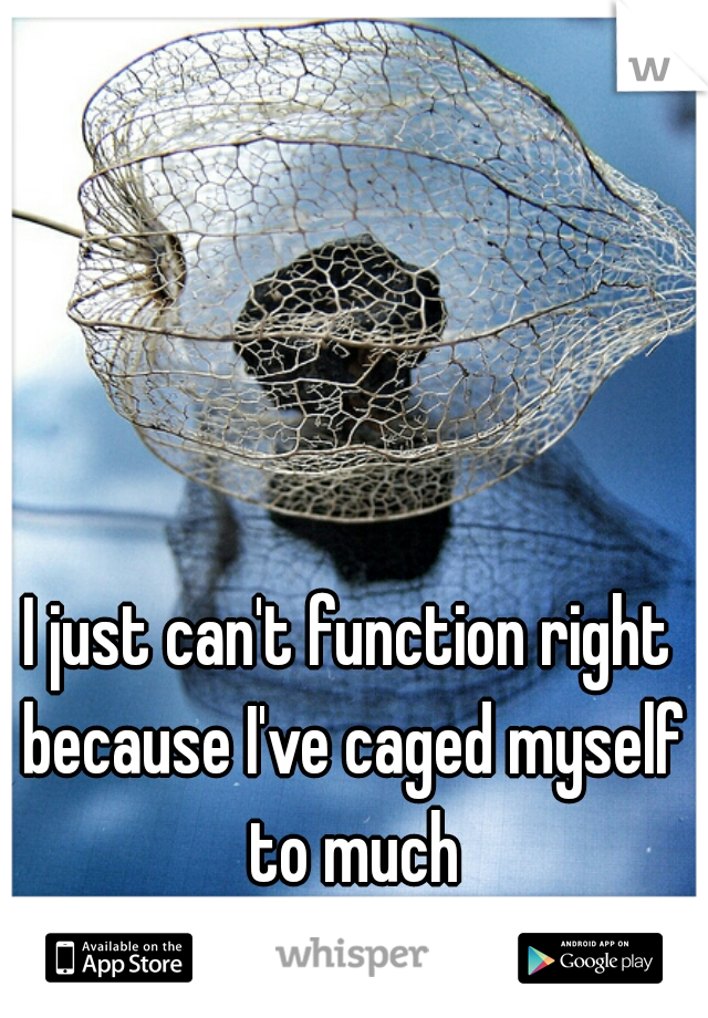 I just can't function right because I've caged myself to much