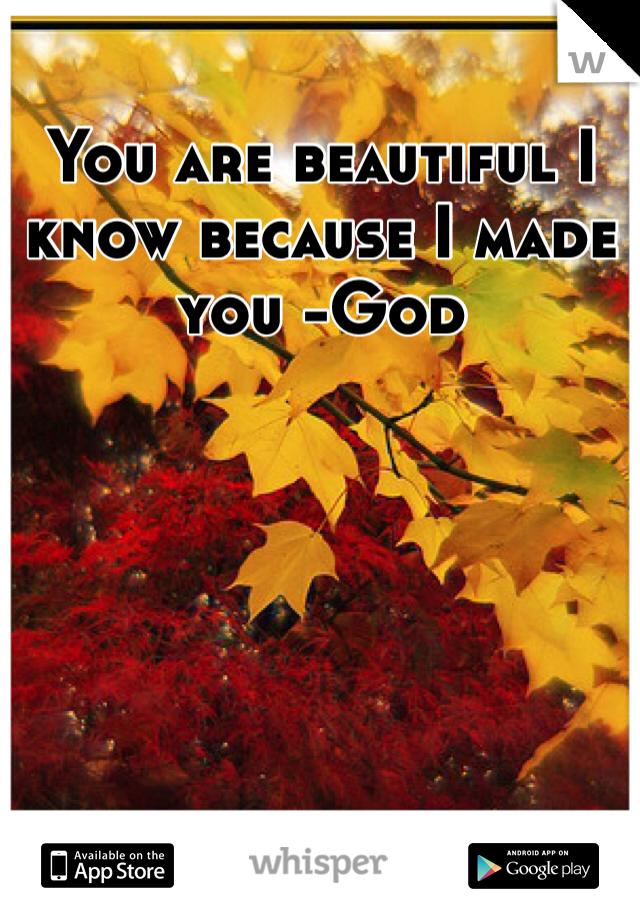 You are beautiful I know because I made you -God