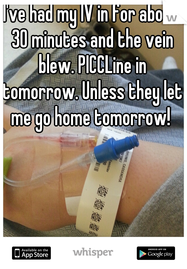 I've had my IV in for about 30 minutes and the vein blew. PICCLine in tomorrow. Unless they let me go home tomorrow!