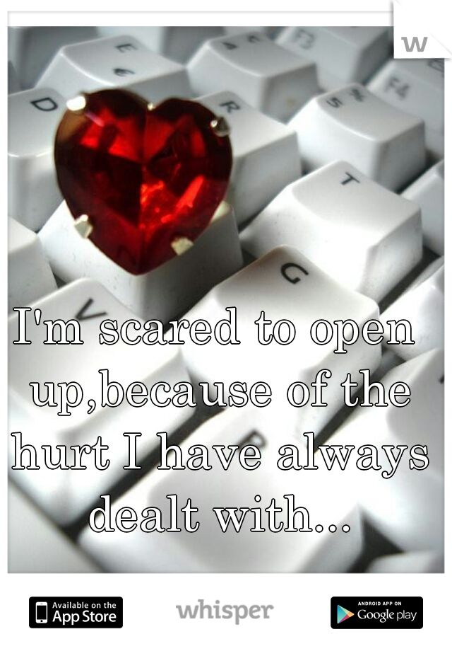 I'm scared to open up,because of the hurt I have always dealt with...