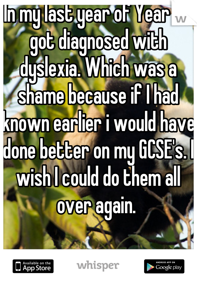 In my last year of Year 11 I got diagnosed with dyslexia. Which was a shame because if I had known earlier i would have done better on my GCSE's. I wish I could do them all over again.