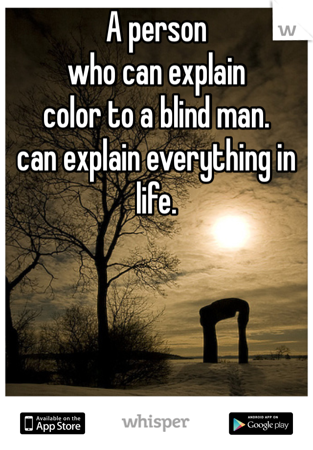 A person who can explain color to a blind man. can explain everything in life.