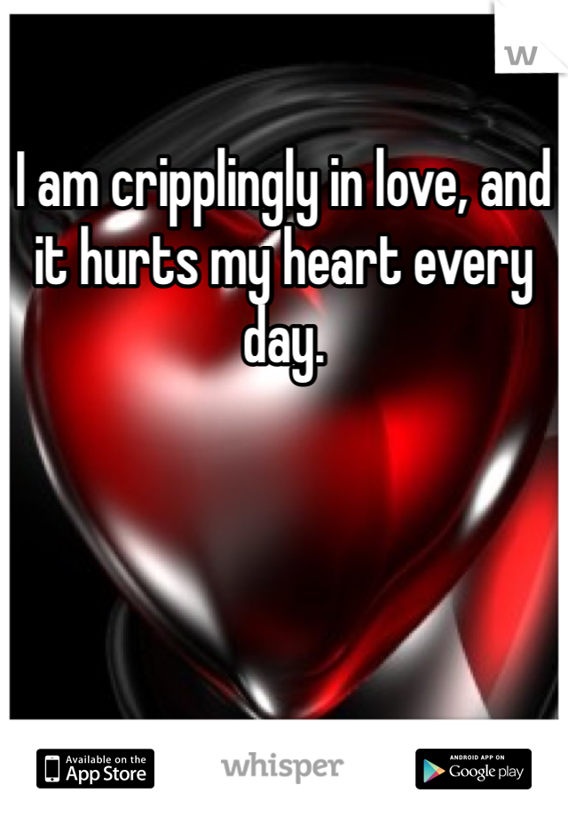 I am cripplingly in love, and it hurts my heart every day.