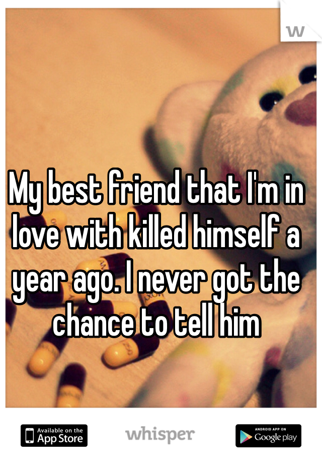 My best friend that I'm in love with killed himself a year ago. I never got the chance to tell him