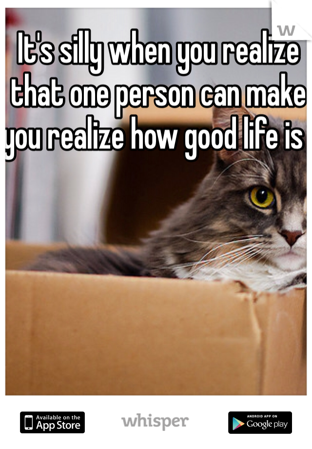 It's silly when you realize that one person can make you realize how good life is .