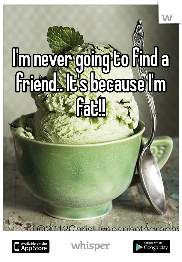 I'm never going to find a friend.. It's because I'm fat!!