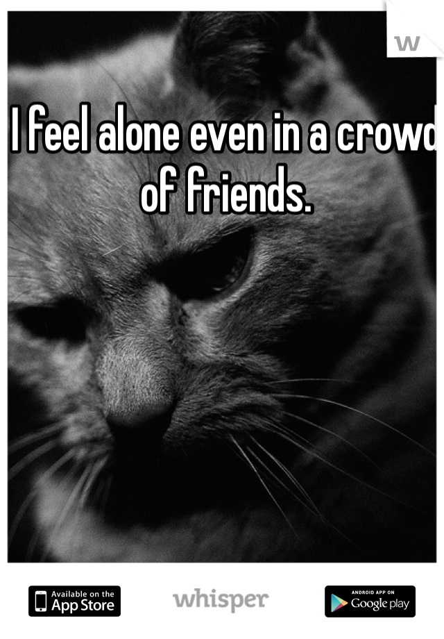 I feel alone even in a crowd of friends.