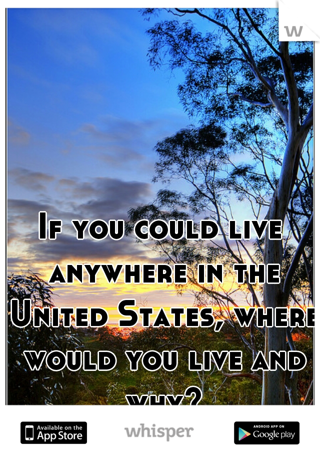 If you could live anywhere in the United States, where would you live and why?
