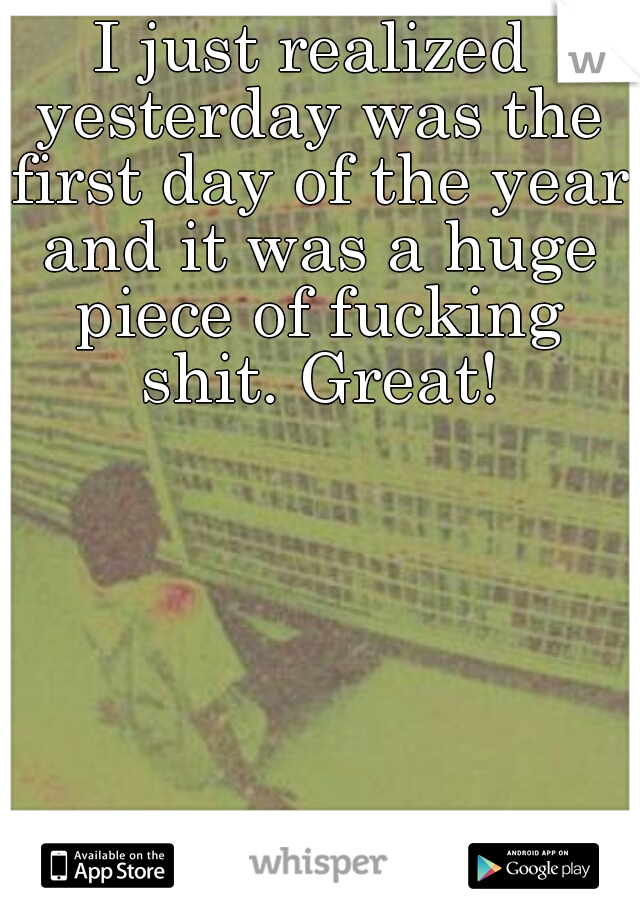 I just realized yesterday was the first day of the year and it was a huge piece of fucking shit. Great!