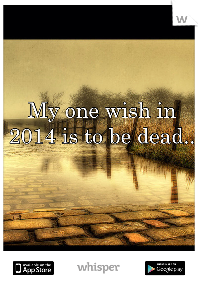 My one wish in 2014 is to be dead..