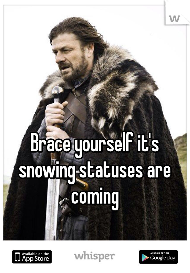 Brace yourself it's snowing statuses are coming