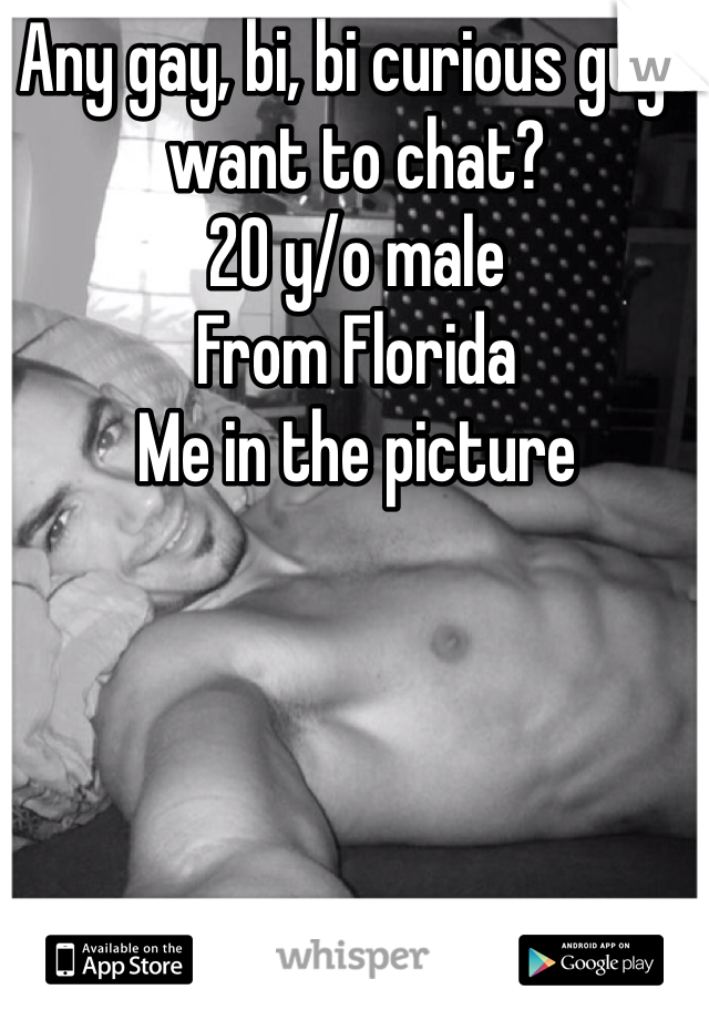 Any gay, bi, bi curious guys want to chat? 20 y/o male From Florida Me in the picture