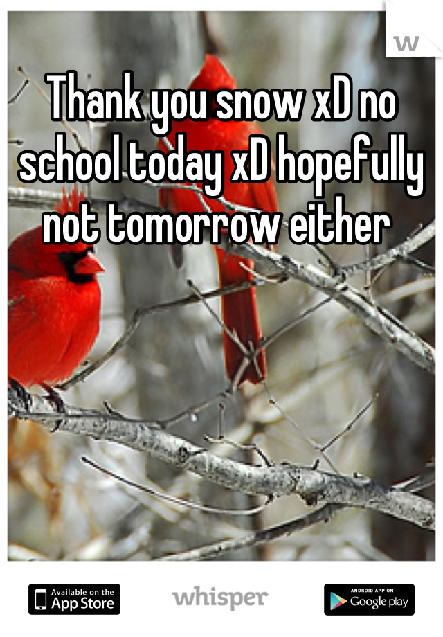 Thank you snow xD no school today xD hopefully not tomorrow either