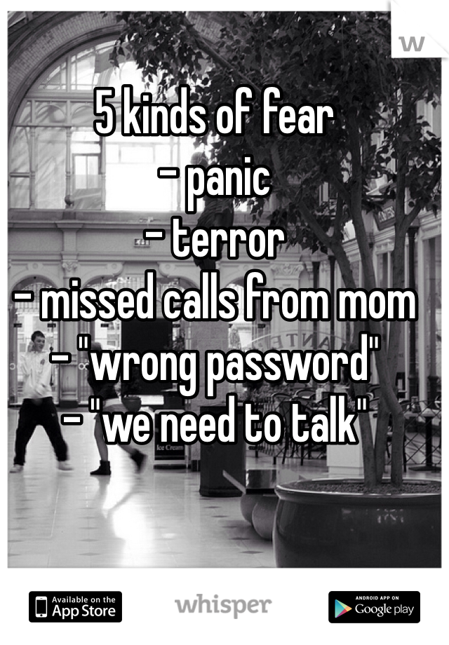 "5 kinds of fear - panic - terror  - missed calls from mom - ""wrong password"" - ""we need to talk"""