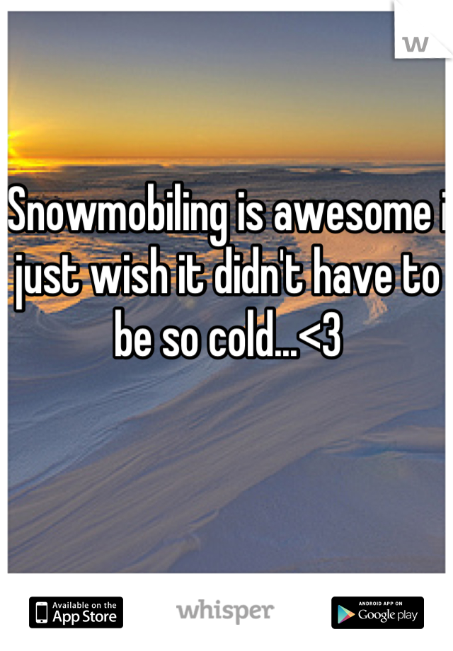 Snowmobiling is awesome i just wish it didn't have to be so cold...<3