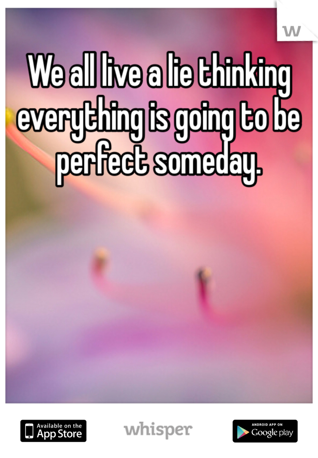 We all live a lie thinking everything is going to be perfect someday.