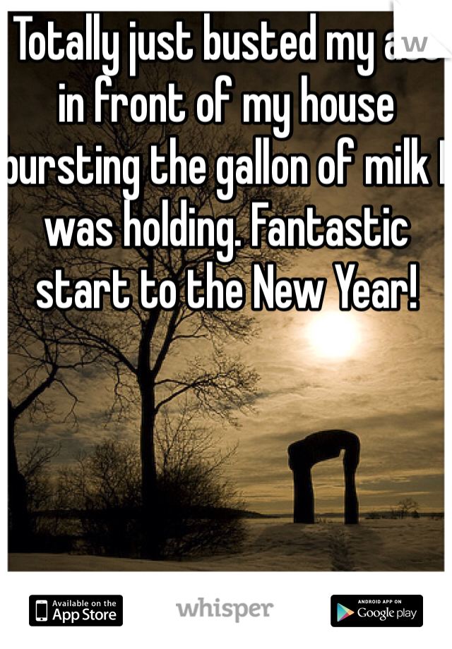 Totally just busted my ass in front of my house bursting the gallon of milk I was holding. Fantastic start to the New Year!