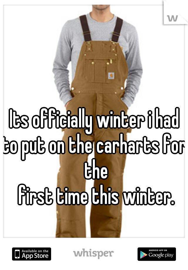 Its officially winter i had to put on the carharts for the  first time this winter.