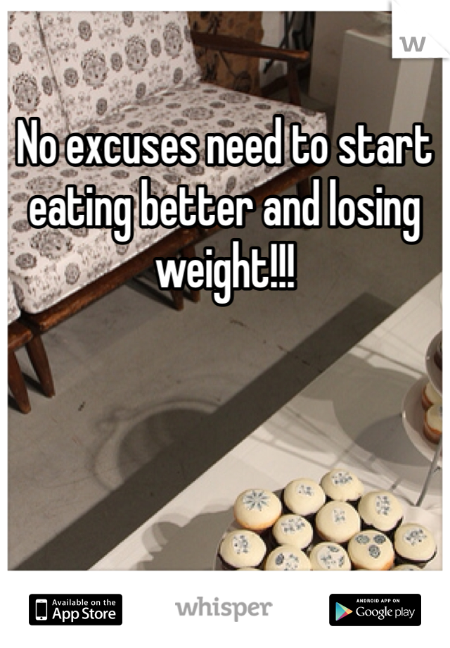 No excuses need to start eating better and losing weight!!!