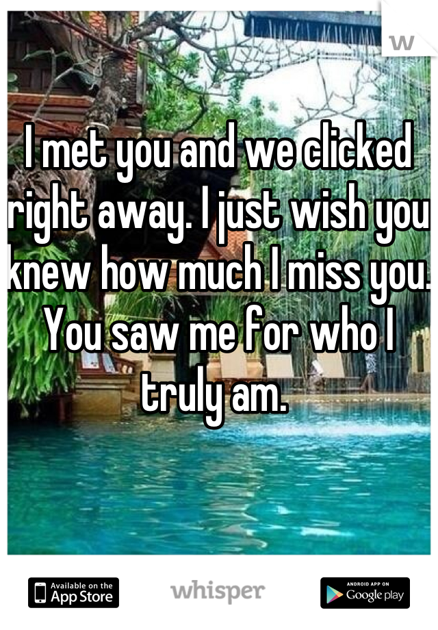 I met you and we clicked right away. I just wish you knew how much I miss you. You saw me for who I truly am.