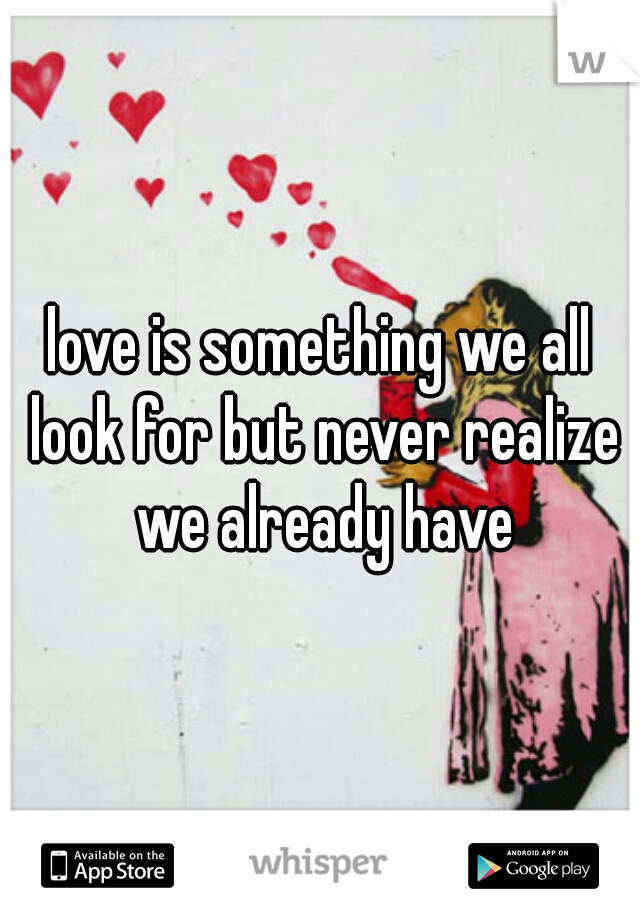 love is something we all look for but never realize we already have