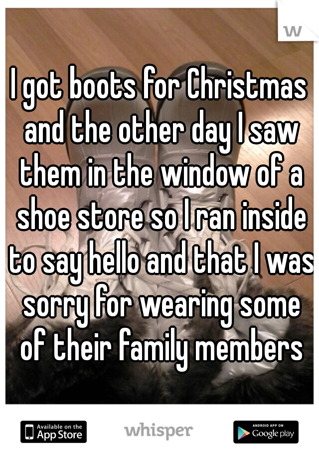 I got boots for Christmas and the other day I saw them in the window of a shoe store so I ran inside to say hello and that I was sorry for wearing some of their family members