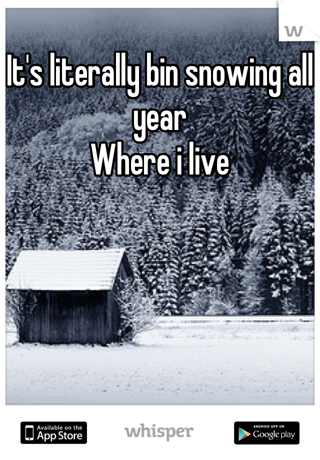 It's literally bin snowing all year  Where i live