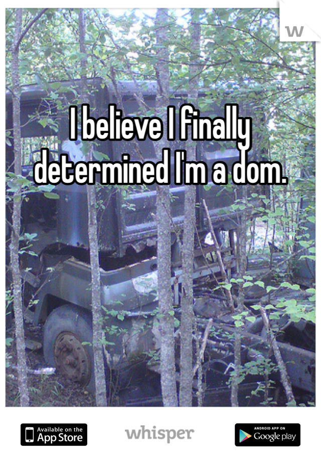 I believe I finally determined I'm a dom.
