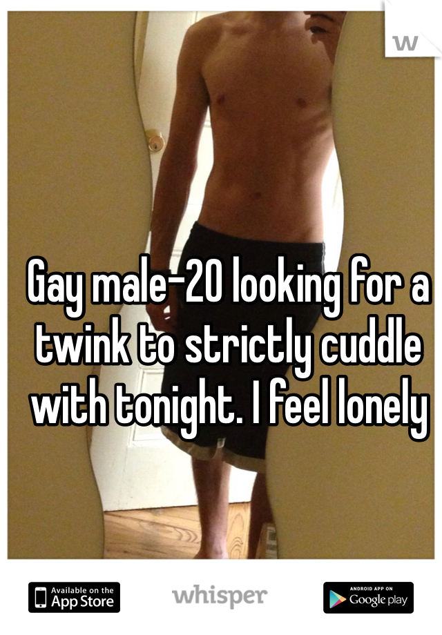 Gay male-20 looking for a twink to strictly cuddle with tonight. I feel lonely