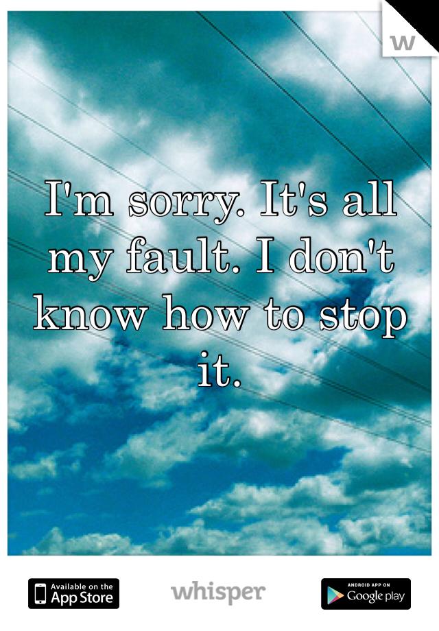 I'm sorry. It's all my fault. I don't know how to stop it.