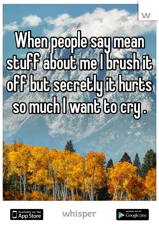 When people say mean stuff about me I brush it off but secretly it hurts so much I want to cry .