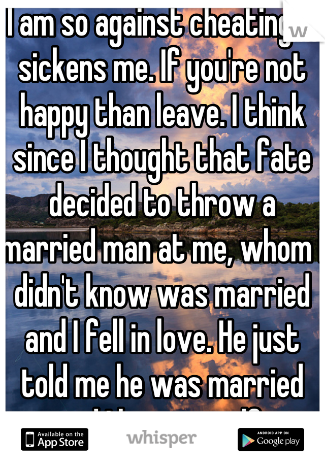 I am so against cheating it sickens me. If you're not happy than leave. I think since I thought that fate decided to throw a married man at me, whom I didn't know was married and I fell in love. He just told me he was married and I hate myself.