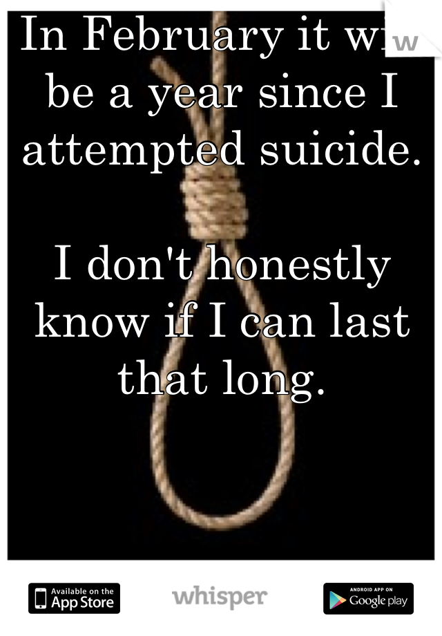 In February it will be a year since I attempted suicide.   I don't honestly know if I can last that long.